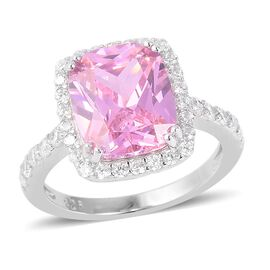 Simulated Pink Sapphire and Simulated Diamond Halo Ring in Sterling Silver