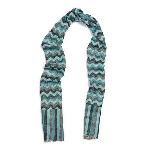 100% Cashmere Wool Blue, Grey and Multi Colour Zig Zag Pattern Scarf (Size 180X70 Cm)