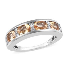 2 Carat Golden Imperial Topaz and Zircon Half Eternity Band Ring in Platinum Plated Silver