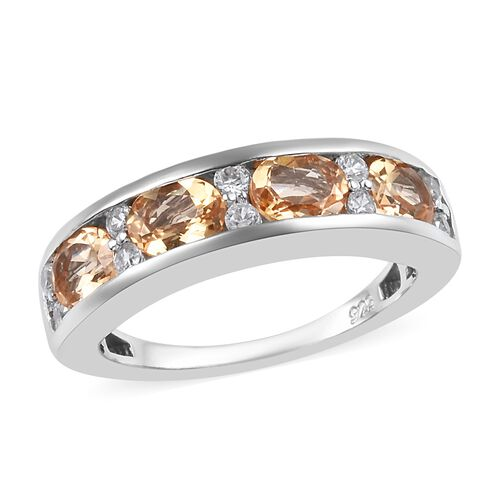 Golden Imperial Topaz and Zircon Band Ring in Platinum Plated Silver,2 Carat