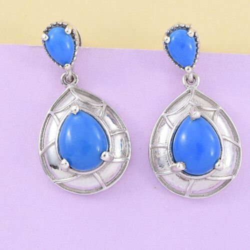 Ceruleite (Pear) Earrings (with Push Back) in Platinum Overlay Sterling Silver 3.500 Ct.