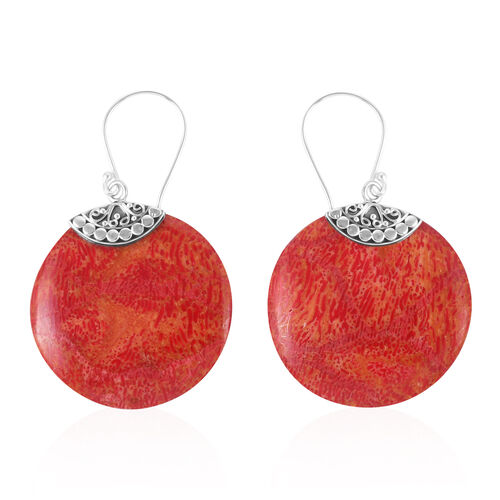 Royal Bali Collection - Sponge Coral (Rnd) Hook Earrings in Sterling Silver.