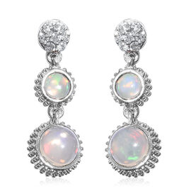 3.25 Ct Ethiopian Welo Opal and Natural Cambodian Zircon Earrings (with Push Back) in Platinum Plated Silver