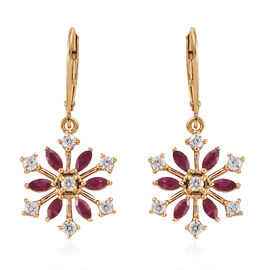 African Ruby (1.25 Ct),Cambodian Zircon 14K Gold Overlay Sterling Silver Earring  2.150  Ct.