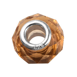 Charmes De Memoire Citrine Murano Glass Bead Charm in Platinum Plated Sterling Silver