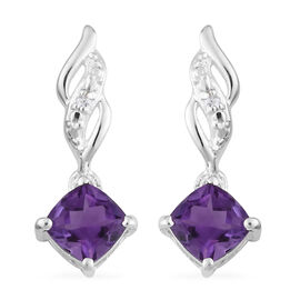 Amethyst and Natural Cambodian Zircon Drop Earrings in Sterling Silver