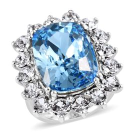 J Francis - Crystal from Swarovski Aquamarine Colour Crystal (Cush 18x13), White Colour Crystal Ring