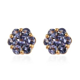 Tanzanite Floral Stud Earrings in Gold Plated Sterling Silver 1.75 Ct