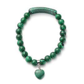 Malachite Stretchable Bracelet (Size 7) with Charm in Silver Tone