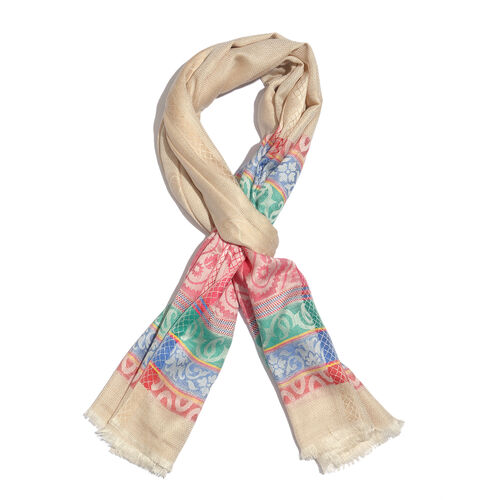 100% Modal Cream and Multi Colour Jacquard Scarf (Size 190x70 Cm)