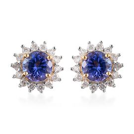 1.40 Ct AA Tanzanite and Diamond Halo Stud Earrings in 9K Yellow Gold with Push Back
