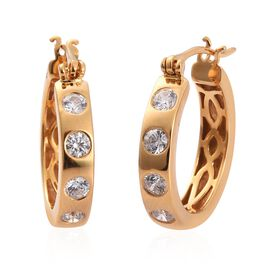 J Francis 14K Gold Overlay Sterling Silver Earrings (with Clasp) Made with SWAROVSKI ZIRCONIA