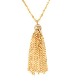 White Austrian Crystal (Rnd) Tassel Necklace (Size 30) in Stainless Steel in Yellow Plating