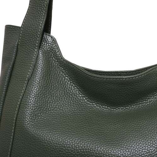 Assots London Harriet Genuine Leather Slouchy Hobo Bag (Size 35x29x7cm) - Green