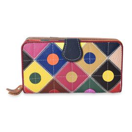 100% Genuine Leather Multi Colour Polka Dots with Checker Pattern Wallet (Size 18x10x4 Cm)