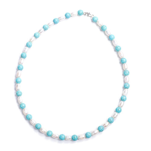 Blue Howlite and White Freshwater Pearl Necklace (Size 20) in Sterling Silver
