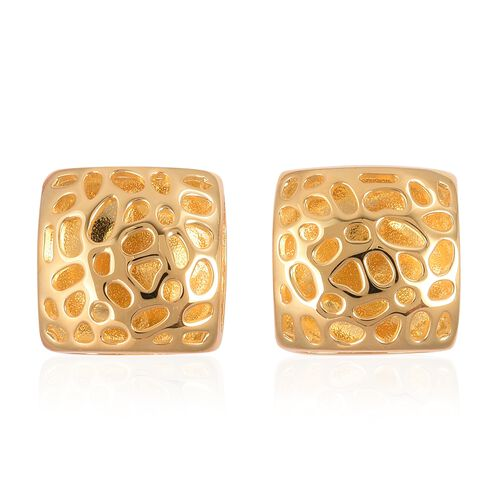 RACHEL GALLEY Lattice Honeycomb Stud Earrings in Gold Plated Silver 7.67 grams