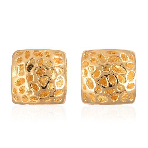 RACHEL GALLEY Lattice Honeycomb Stud Earrings in Gold Plated Silver 7.67 grams