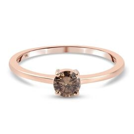 Monster Deal-9K Rose Gold SGL Certified Natural Champagne Diamond (I3) Solitaire Ring 0.50 Ct.