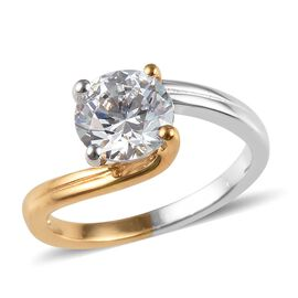 J Francis - Platinum and Yellow Gold Overlay Sterling Silver (Rnd) Solitaire Ring Made with SWAROVSK