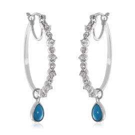 AA Arizona Sleeping Beauty Turquoise (Pear), Natural Cambodian Zircon Hoop Drop Earrings (with Clasp