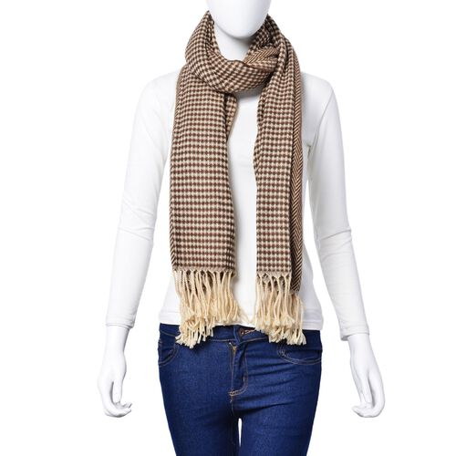 Brown and White Colour Herringbone and Diamond Pattern Scarf with Long Tassels (Size 180x65 Cm)