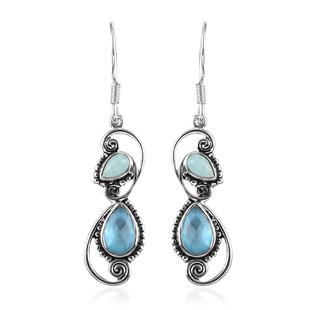 Sajen Silver - Natural Amazonite and Quartz Doublet Celestial Mop Scuba Enamelled Hook Earrings in R