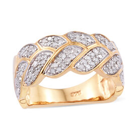 0.50 Ct Diamond Leaves Ring in Gold Plated Sterling Silver 4.40 Grams