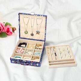 Two-Tier Blue with Multi Colour Butterfly Pattern Jewellery Box with Anti-Tarnish Lining