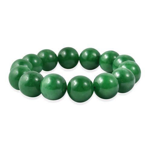 Green Jade Stretchable Beads Bracelet (Size 6.75)
