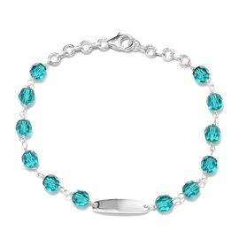 J Francis Blue Zircon Crystal from Swarovski Station Beaded Bracelet in Silver 7 with Extender