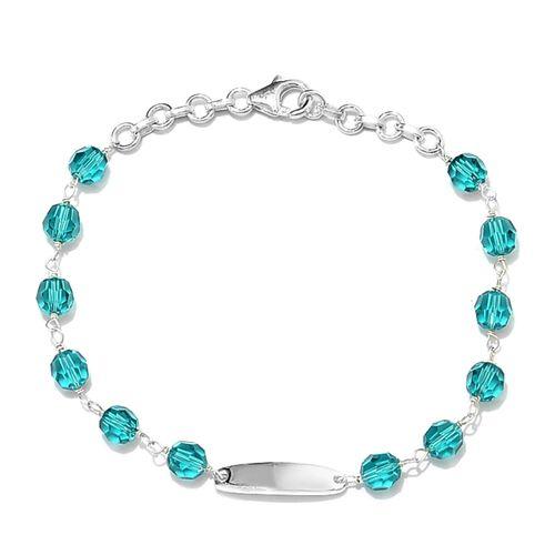J Francis Blue Zircon Crystal from Swarovski Station Beaded Bracelet in Silver 7 with Extender