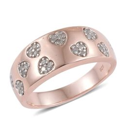 0.25 Carat Diamond Heart Stacking Band Ring in Rose Gold Overlay Sterling Silver