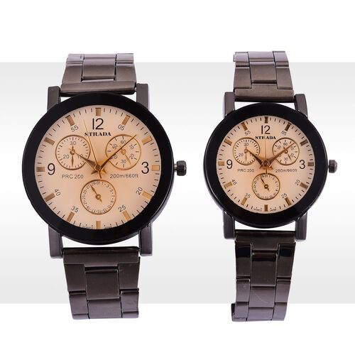 Set of 2 - STRADA Japanese Movement Chronograph Look White Dial Water Resistant Watch in Black Tone with Stainless Steel Back and Chain Strap