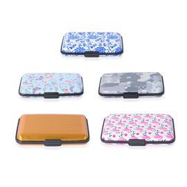 5 Piece Set - Multi Colour Leopard and Flamingo, Butterfly and Floral Pattern RFID Blocking Aluminium Card Holder and a box.