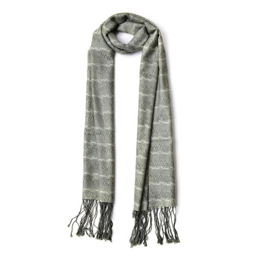 100% Wool Green and White Colour Zigzag Pattern Scarf with Tassels (Size 180X60 Cm)