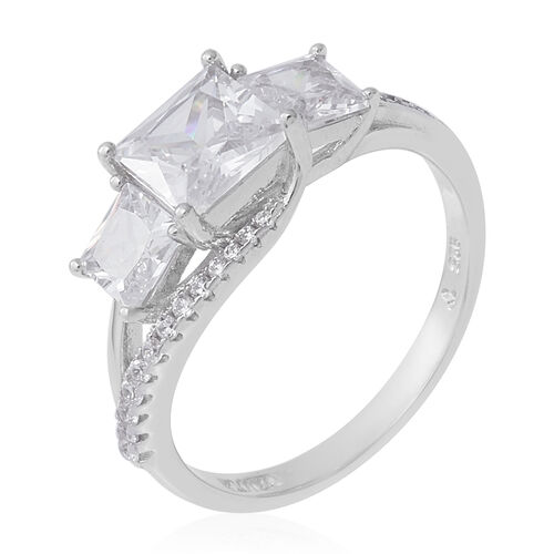 ELANZA Simulated Diamond Ring in Rhodium Overlay Sterling Silver 5.31 Ct.