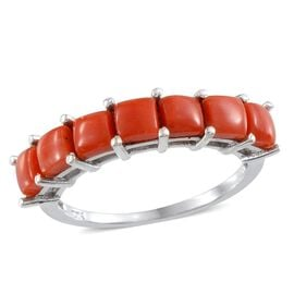 Mediterranean Coral (2.00 Ct) Platinum Overlay Sterling Silver Ring  2.000  Ct.