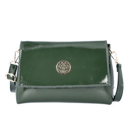 100% Genuine Leather Crossbody Bag with Adjustable Shoulder Starp (25x9.5x17cm) - Green