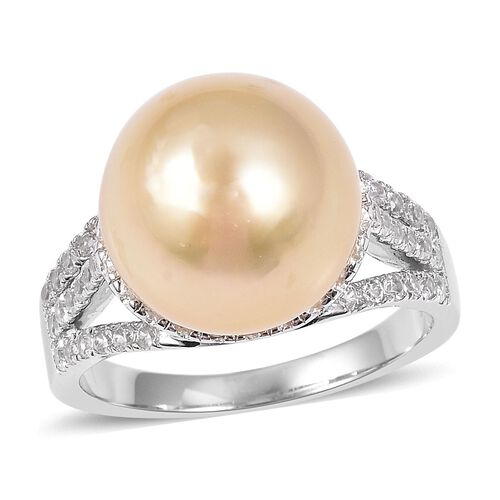 Golden South Sea Pearl and Cambodian Zircon Solitaire Design Ring in Sterling Silver 5.4 Grams