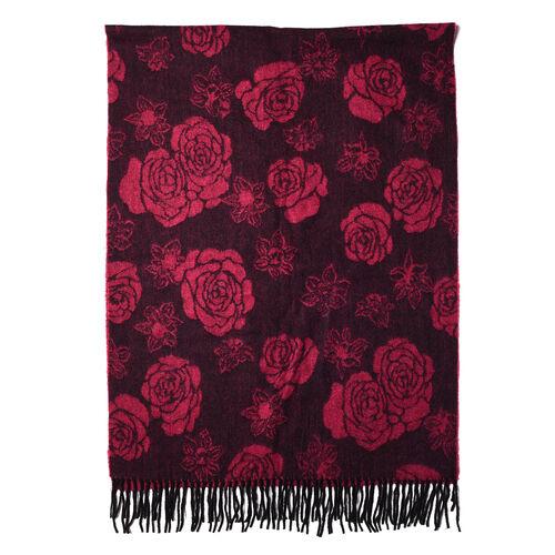 LA MAREY Super Soft 100% Lambswool Jacquard Pink Rose Pattern Shawl with Tassels (175x70cm)
