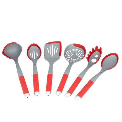 7 Piece Set - Kitchen Utensils (Includes Skimmer, Slotted Turner, Soup Ladle, Solid Spoon, Spaghetti Server, Slotted Spoon and Rotating Stand) - Red and Grey