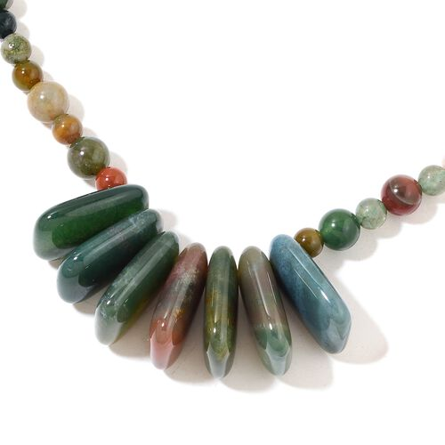 Indian Agate Necklace (Size 18) in Silver Plated 290.000 Ct.