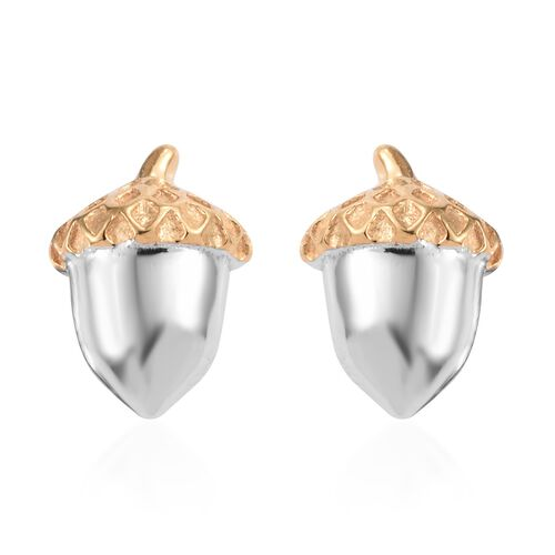 Yellow Gold and Platinum Overlay Sterling Silver Oak Fruit Stud Earrings (with Push Back)