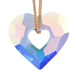 J Francis - Crystal From Swarovski AB Crystal Heart Pendant with Chain (Size 30) in Sterling Silver