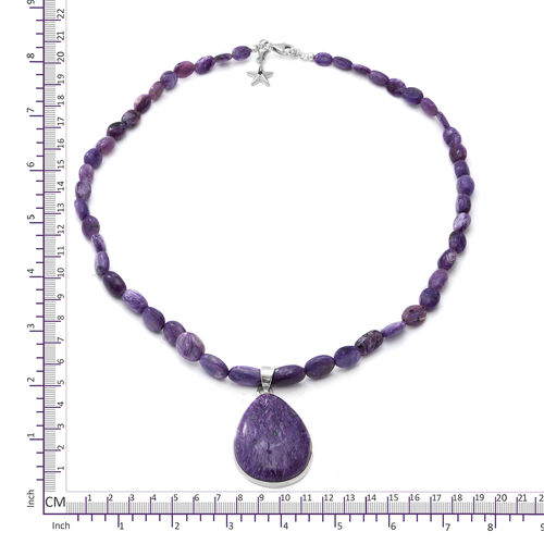 GP -Russian Charoite Necklace with Teardrop Russian Chaorite Pendant in Platinum Overlay Sterling Silver 150.03 Ct.