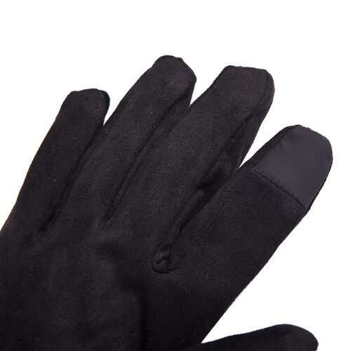 Solid Black Gloves with Embossed Lines and Faux Fur Trim (Size XS-M)