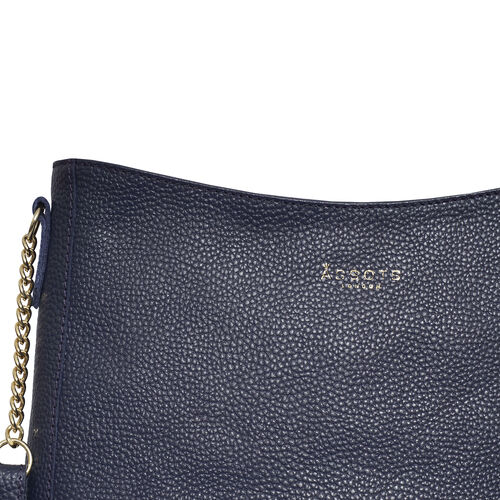 Assots London LOUISA - 100% Genuine Leather Handbag with Shoulder Strap (30x7x24cm) - Navy