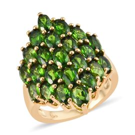 6.25 Ct Russian Diopside Cluster Ring in Gold Plated Sterling Silver 5.48 Grams