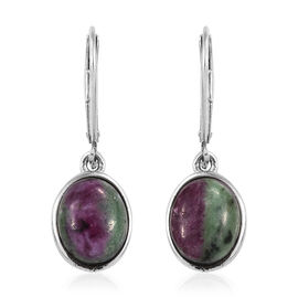 Ruby Zoisite (Ovl 10x8 mm) Lever Back Earrings in Platinum Overlay Sterling Silver 7.25 Ct.
